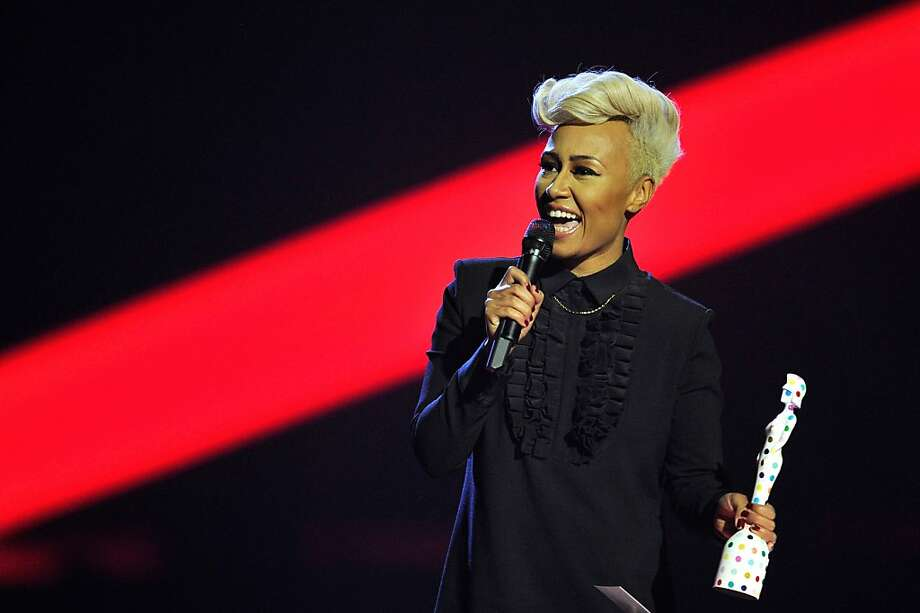 LONDON, ENGLAND - FEBRUARY 20:  Emeli Sandé receives the award for British Female Solo Artist on stage during the Brit Awards 2013 at the 02 Arena on February 20, 2013 in London, England.  (Photo by Matt Kent/Getty Images) Photo: Matt Kent, Getty Images