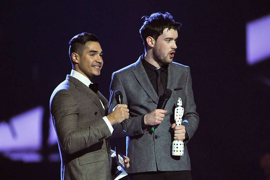 LONDON, ENGLAND - FEBRUARY 20:  (L-R) Louis Smith and Jack Whitehall present the award for British Live Act on stage during the Brit Awards 2013 at the 02 Arena on February 20, 2013 in London, England.  (Photo by Matt Kent/Getty Images) Photo: Matt Kent, Getty Images