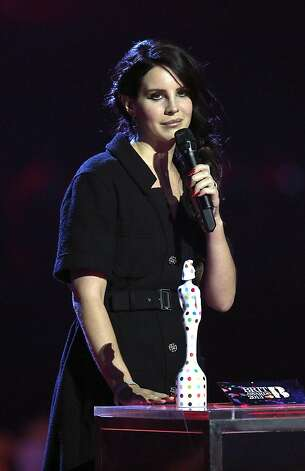Lana Del Rey, winner of the Best International Female award, seen on stage during the BRIT Awards 2013 at the o2 Arena in London on Wednesday, Feb. 20, 2013. (Photo by Joel Ryan/Invision/AP) Photo: Joel Ryan, Associated Press