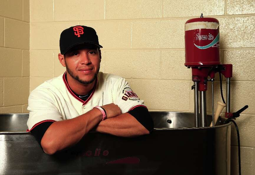 Gregor Blanco #7 poses for a portrait during San Francisco Giants Photo Day on February 20, 2013 in