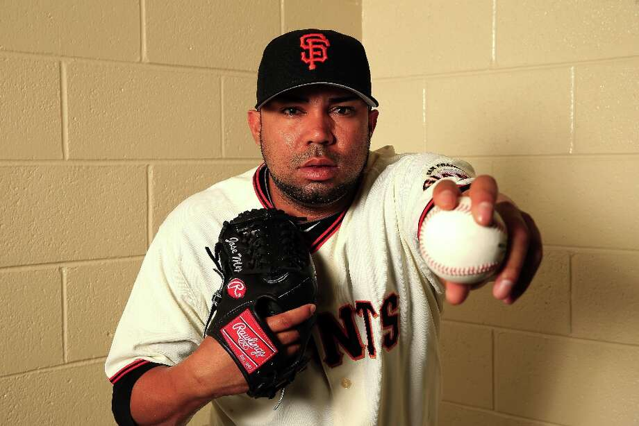 Pitcher Jose Mijares #50 poses for a portrait during San Francisco Giants Photo Day on February 20, 2013 in Scottsdale, Arizona. Photo: Jamie Squire, Getty Images / 2013 Getty Images