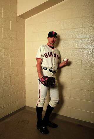 Pitcher Barry Zito #75 poses for a portrait during San Francisco Giants Photo Day on February 20, 2013 in Scottsdale, Arizona. Photo: Jamie Squire, Getty Images / 2013 Getty Images