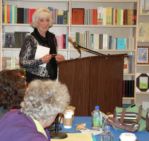 "Margaret Rumford of Fairfield had the gathering at Barnes & Noble in hysterics with her story proposal last week to ""book doctors"" David Henry Sterry and Arielle Eckstut. Photo: Jarret Liotta / Westport News contributed"