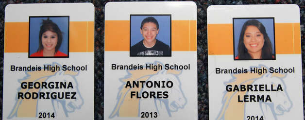 These are the identification cards for three of the four Brandeis High School students that were in a fatal car crash on Feb. 19, 2013. Gabriella Lerma, 17, was pronounced dead on arrival at University Hospital about noon Tuesday. Photo: JOHN DAVENPORT, San Antonio Express-News