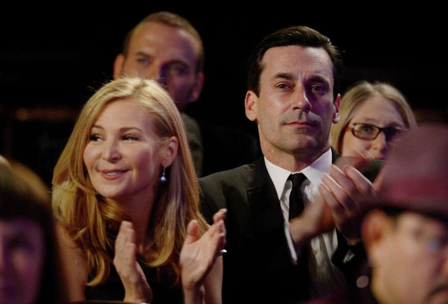 Actors Jennifer Westfeldt and Jon Hamm attend the 15th Annual Costume Designers Guild Awards with pr