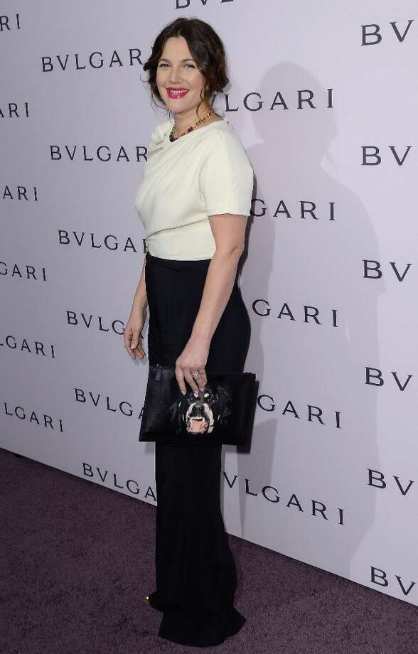 Actress Drew Barrymore, wearing BVLGARI, arrives at the BVLGARI celebration of Elizabeth Taylor's collection of BVLGARI jewelry at BVLGARI Beverly Hills on February 19, 2013 in Los Angeles, California. Photo: Mark Davis, Getty Images / 2013 Getty Images