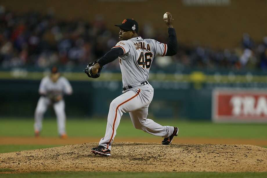 Giants' pitcher Santiago Casilla throws in the 9th inning during game 4 of the World Series at Comerica Park on Sunday, Oct. 28, 2012 in Detroit, MI. Photo: Michael Macor, The Chronicle