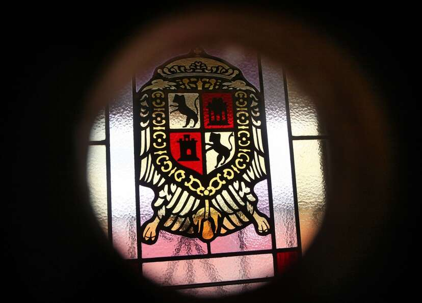 A detail of a window in the Anza room of the Presidio Officer's Club.