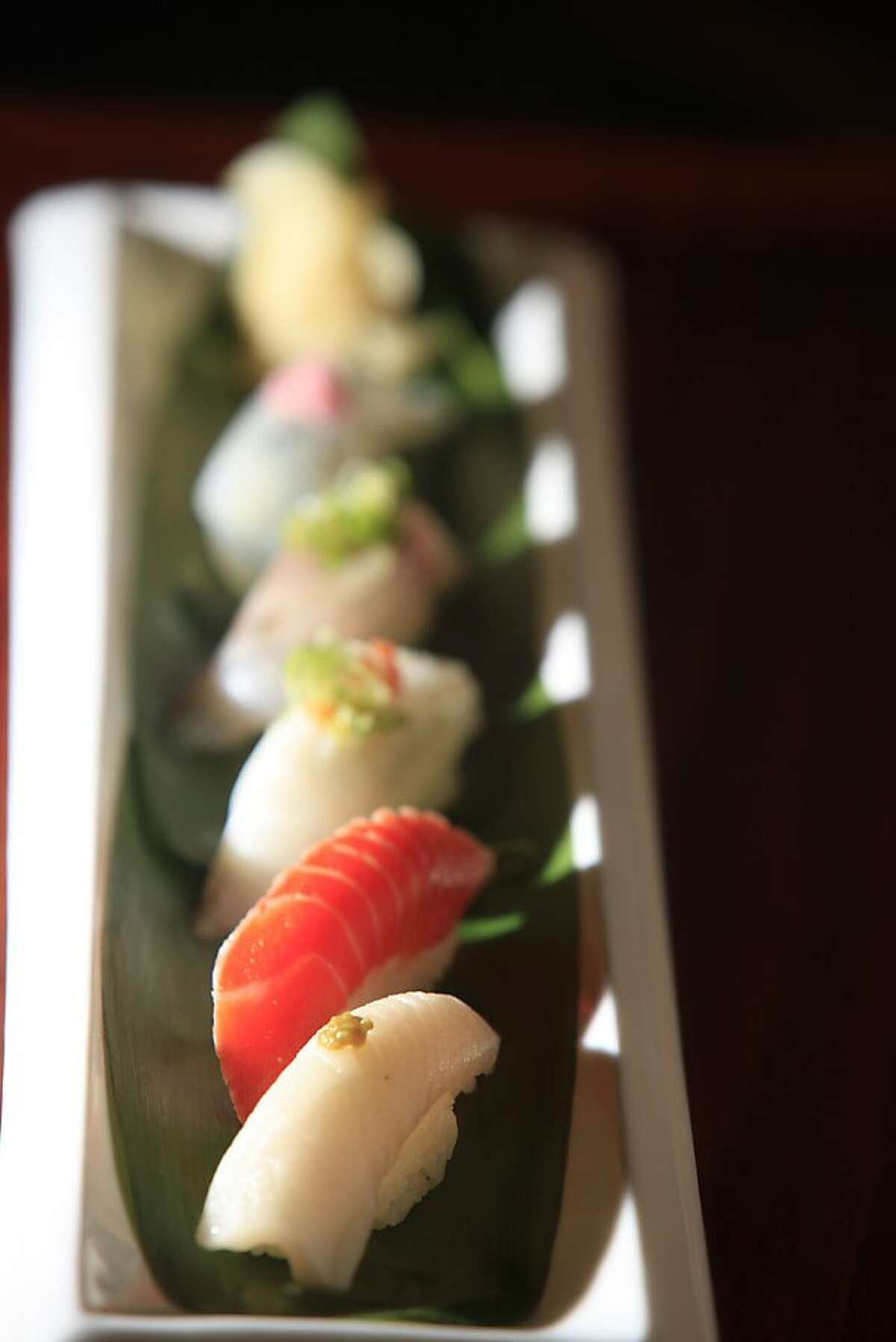 An assortment of sushi is seen at a sushi restaurant in Marin County on Monday November 16, 2009.