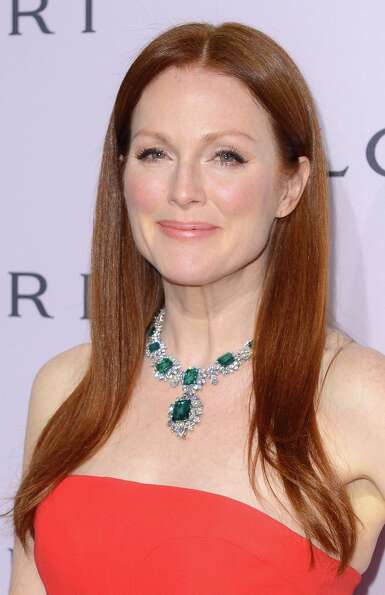 Actress Julianne Moore in BVLGARI attends the BVLGARI celebration of Elizabeth Taylor's collection o
