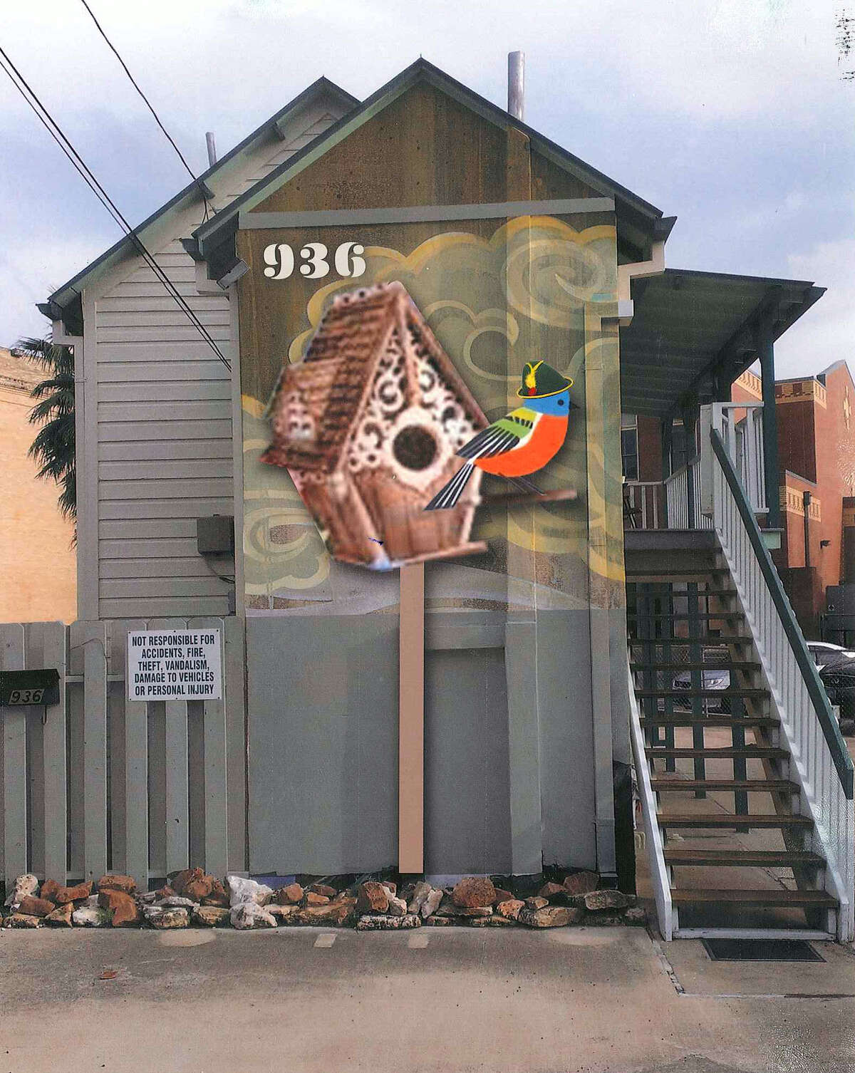Leaders of the King William Association supported a version of the mural by artist Robert Tatum that depicted a bird with natural proportions, wearing a small Bavarian hat. The association initially opposed Tatum's concept of a chimp, and on Wednesday opposed his styled version of the bird. Tatum, who was not at the meeting of the Historic and Design Review Commission, said he's going to abandon the mural project.