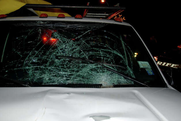 The windshield of the Chevrolet pickup truck authorities say Pablo Cruz was driving in a high-speed chase with Albany County Sheriff's deputies when he struck and killed bicyclist Paul Merges of Albany early Saturday, Nov. 24, 2012. The chase ended on Curry Road in Rotterdam when the truck's engine quit, according to authorities. (Thomas Heffernan Sr./Special to the Times Union) Photo: Picasa