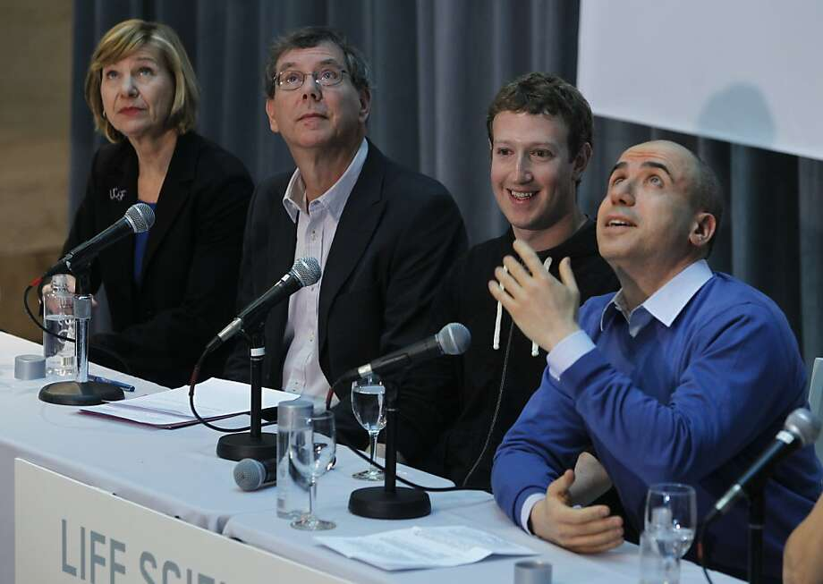 UCSF Chancellor Susan Desmond-Hellmann (left), Art Levinson, Facebook founder Mark Zuckerberg and Yuri Milner announce the launch of the Breakthrough Prize on the UCSF Mission Bay campus. Photo: Paul Chinn, The Chronicle