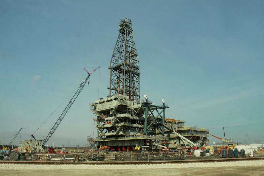 Lonestar Energy Fabrication recently completed work on this drilling rig, meant for Royal Dutch Shell's Olympus platform. Photo: Gary Fountain, Freelance / Copyright 2013 Gary Fountain.