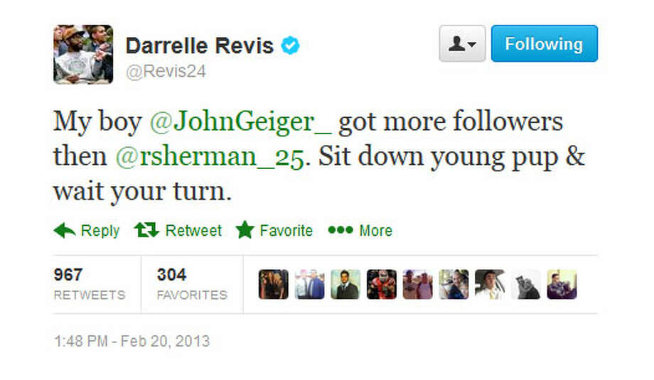 Revis appears to be baiting Sherman. John Geiger, by the way, is Revis' marketing and business manager.