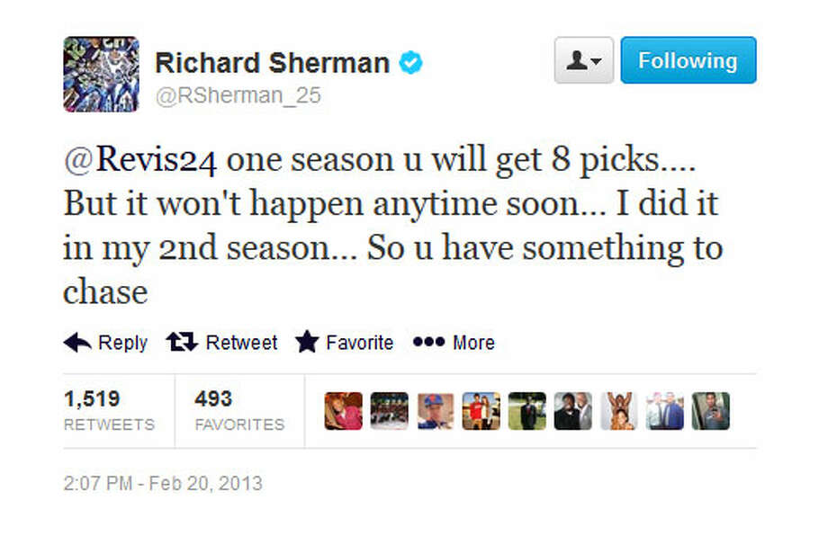 Sherman brags about the eight interceptions he got in 2012.