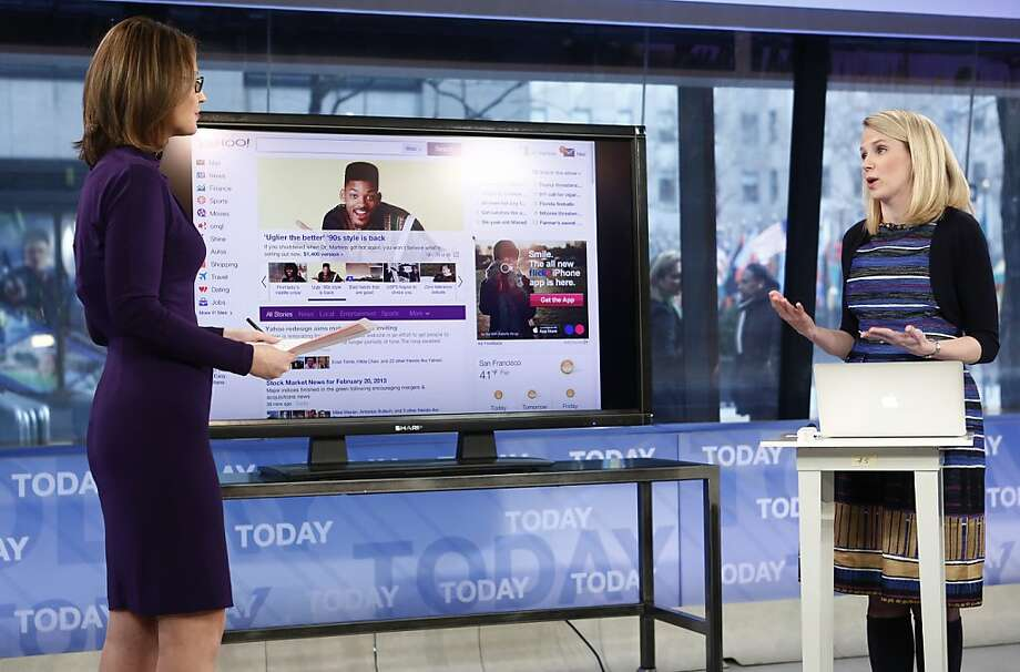 "Yahoo CEO Marissa Mayer shows off the redesign on ""Today."" Photo: Peter Kramer, Associated Press"