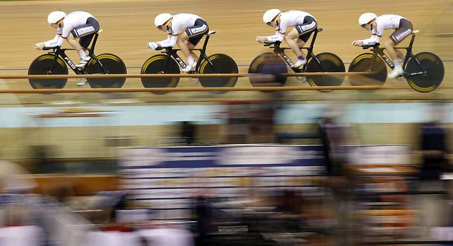 Germany's team members include (no left - right available) Lucas Liss, Henning Bommel, Maximilian Beyer and Theo Reinhardt  compete in the men's 4km Team Pursuit Qualifying  race during the Track Cycling World Championships in Minsk , Belarus, Wednesday, Feb. 20, 2013. (AP Photo/Mindaugas Kulbis) Photo: Mindaugas Kulbis, Associated Press
