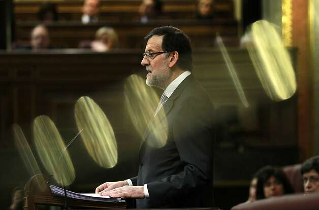 Spain's Prime Minister Mariano Rajoy speaks during a state of the nation debate at the Spanish Parliament in Madrid, Spain, Wednesday, Feb. 20, 2013. (AP Photo/Andres Kudacki) Photo: Andres Kudacki, Associated Press