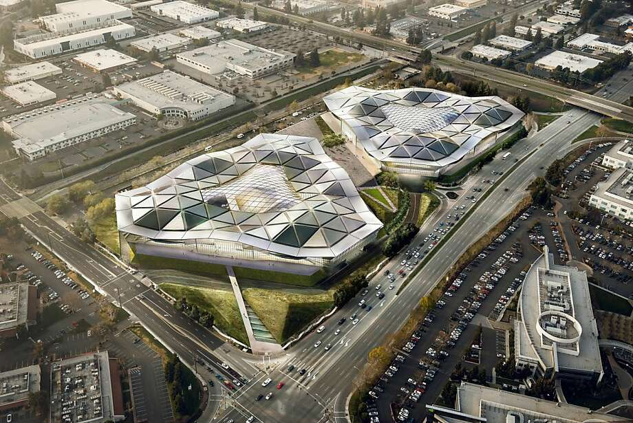 Nvidia wants to build a pair of triangular buildings in Santa Clara that would have geodesic roofs that mimic the miniature triangles used in computer graphics chips. Photo: Gensler And Kilograph, NVIDIA Corporation