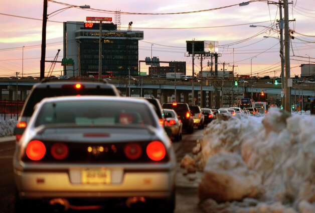 Traffic gets tied up along Stratford Avenue in Bridgeport, Conn. 06608 on Thursday February 14, 2013. Photo: Christian Abraham / Connecticut Post