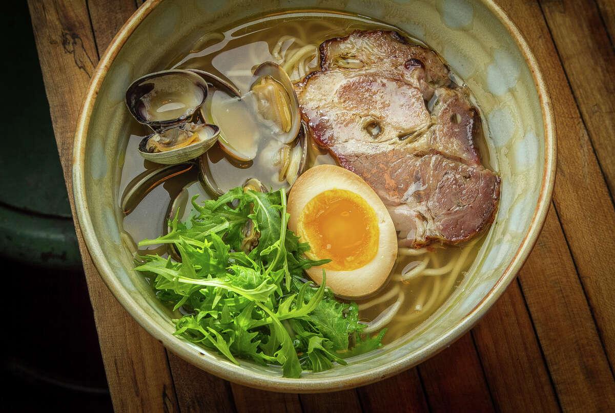 Shio ramen with clams, egg and Llano Seco Chasu at Ramen Shop.