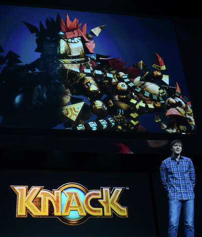 Video game designer Mark Cerny introduces the new game called Knack as Sony introduces the PlayStation 4 at a news conference February 20, 2013 in New York.  AFP PHOTO/EMMANUEL DUNANDEMMANUEL DUNAND/AFP/Getty Images Photo: EMMANUEL DUNAND, AFP/Getty Images / AFP