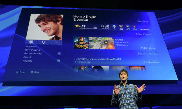 Video game designer Mark Cerny talks talk about the new platform of the Playstation 4 as Sony introduces the PlayStation 4 at a news conference February 20, 2013 in New York.  AFP PHOTO/EMMANUEL DUNANDEMMANUEL DUNAND/AFP/Getty Images Photo: EMMANUEL DUNAND, AFP/Getty Images / AFP