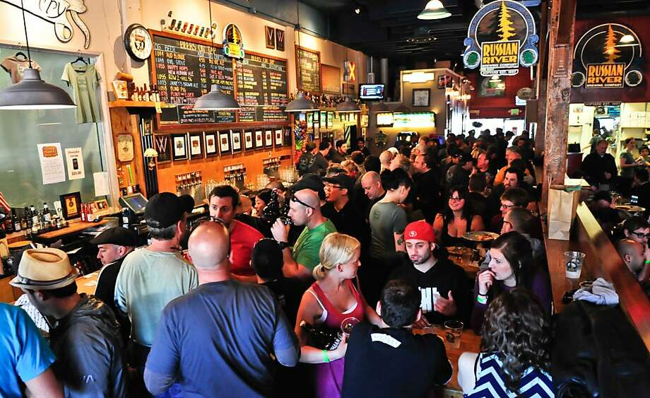 The crowds at Russian River Brewing Co. overflowed - and so did the beer - as the brewery's Pliny the Younger, dubbed the best beer in the country by one publication, was in season. Photo: Sean Z. Paxton