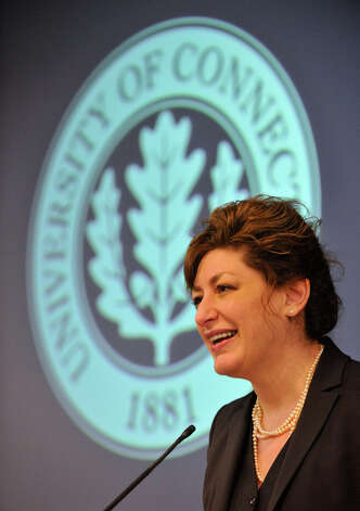University of Connecticut President Susan Herbst speaks during the Next Generation Connecticut press conference where she and Gov. Dannel P. Malloy announced a 10-year initiative to expand the campus and the university's offerings in science, technology, engineering and math while at the University of Connecticut's Stamford location on Wednesday, Feb. 20, 2013. Part of the plan includes building nearby housing for students. Photo: Jason Rearick / The Advocate