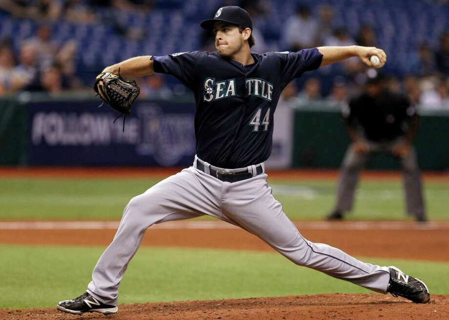 Lucas Luetge had never pitched above Class AA before going 2-2 with a 3.98 ERA and two saves as a rookie with the Mariners in 2012. Photo: Chris O'Meara, STF / AP2012