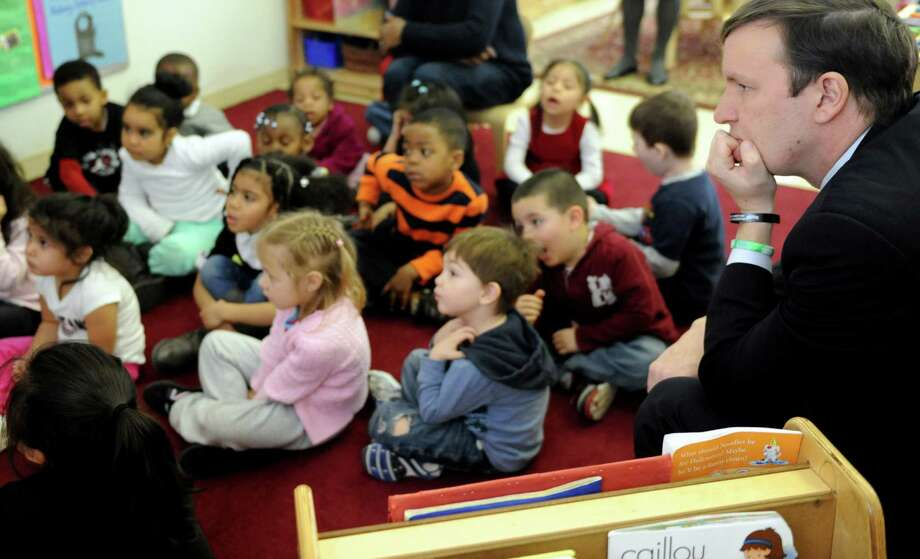 U.S. Senator Chris Murphy (D-Conn.) watches a preschool class at the Childcare Learning Center in Stamford on Wednesday, February 20, 2013. Photo: Lindsay Perry / Stamford Advocate