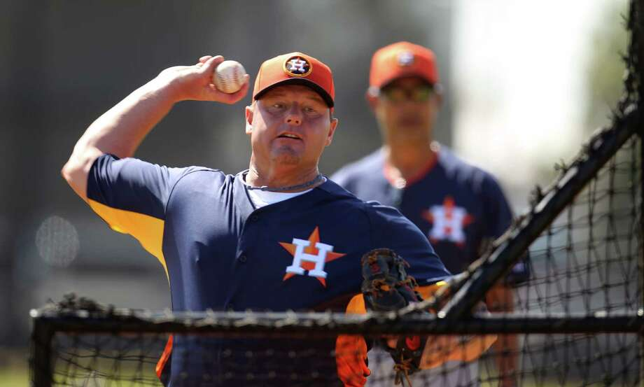 Roger Clemens enjoyed his stint as a batting practice pitcher Wednesday. Photo: Karen Warren, Staff / © 2013 Houston Chronicle