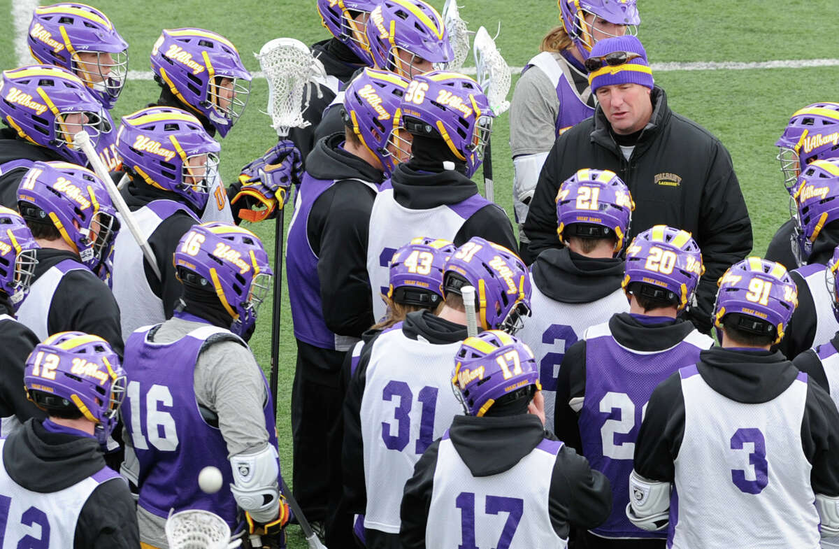 UAlbany lacrosse head coach Scott Marr talks to his team during a practice on Wednesday Feb. 20, 2013 in Albany, N.Y. (Lori Van Buren / Times Union)