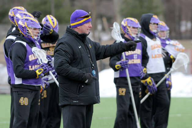 UAlbany lacrosse head coach Scott Marr talks to his team during a practice on Wednesday Feb. 20, 2013 in Albany, N.Y. (Lori Van Buren / Times Union) Photo: Lori Van Buren
