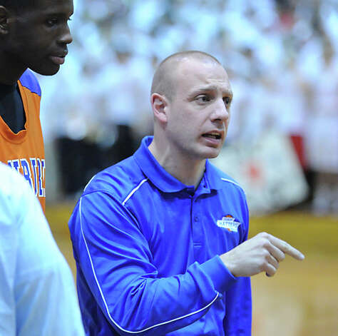 Danbury boys basketball coach Casey Bock during the boys high school basketball game between Greenwich High School and Danbury High School at Greenwich, Wednesday, Feb. 20, 2013. Photo: Bob Luckey / Greenwich Time