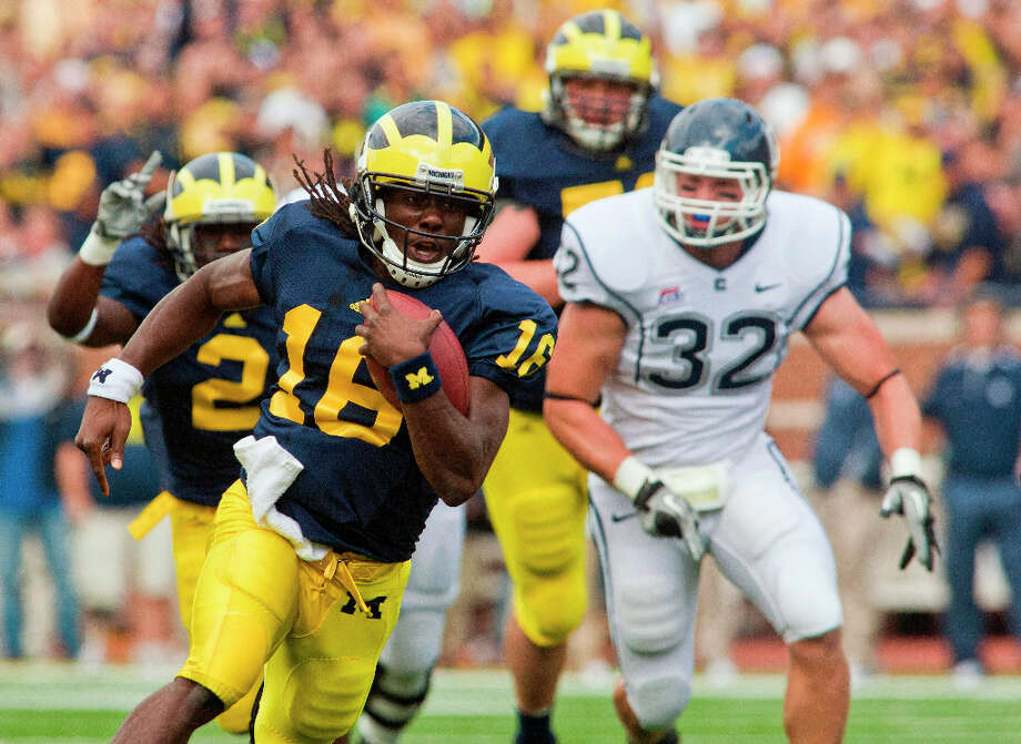 7. Denard Robinson, QB, MichiganThe Wolverines quarterback has to prove to scouts he can be a dynamic receiver and kick returner. Photo: Tony Ding