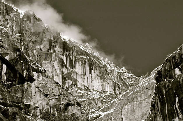 The north Yosemite rim in classic black-and-white