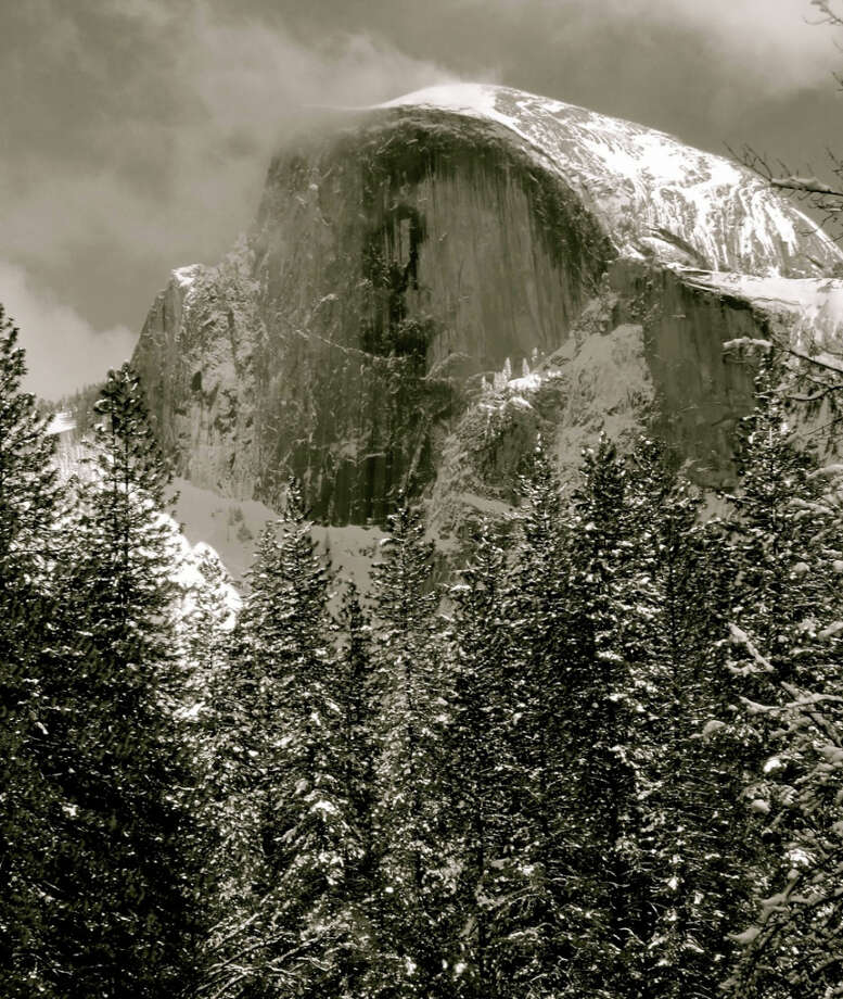 Epic black-and-white of Half Dome in winter