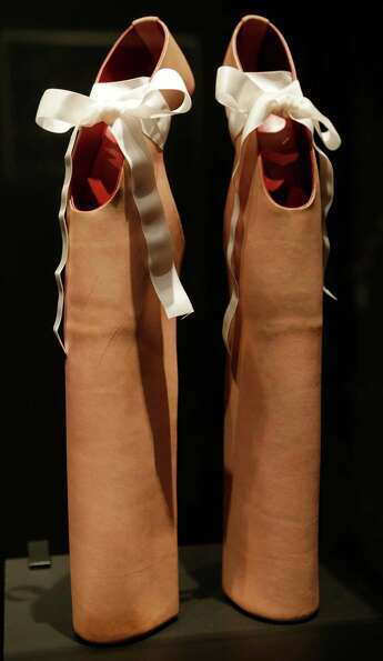 This Feb. 11, 2013 photo shows a pair of shoes designed by Noritake Tatehana for Lady Gaga displayed