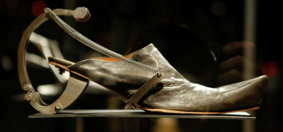 "This Feb. 11, 2013 photo shows Kei Kagami's oxidized metal and leather footwear on display at the ""Shoe Obsession"" exhibit at The Museum at the Fashion Institute of Technology Museum in New York. The exhibition, showing off 153 specimens, runs through April 13. Photo: Kathy Willens, AP / AP"