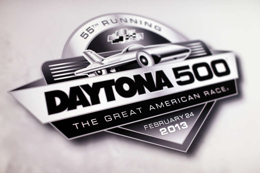 The Daytona 500 logo is seen  during the 2013 NASCAR media day at Daytona International Speedway on