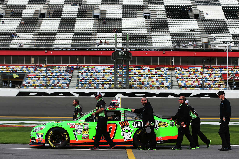 The #10 car, driven by Danica Patrick, in the pit  during practice for the NASCAR Sprint Cup Series Daytona 500 at Daytona International Speedway on February 16, 2013. Photo: Tom Pennington, NASCAR Via Getty Images / 2013 NASCAR