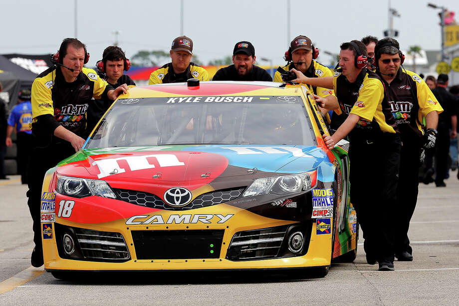 Kyle Busch, driver of the #18 M&M's Toyota, during practice for the NASCAR Sprint Cup Series Daytona 500 at Daytona International Speedway. Photo: Sam Greenwood, Getty Images / 2013 Getty Images