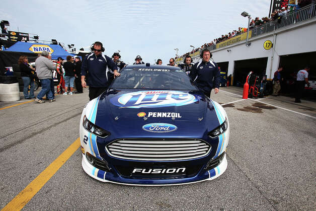 Brad Keselowski, driver of the #2 Miller Lite Ford, during practice for the NASCAR Sprint Cup Series Daytona 500 at Daytona International Speedway. Photo: Matthew Stockman, Getty Images / 2013 Getty Images