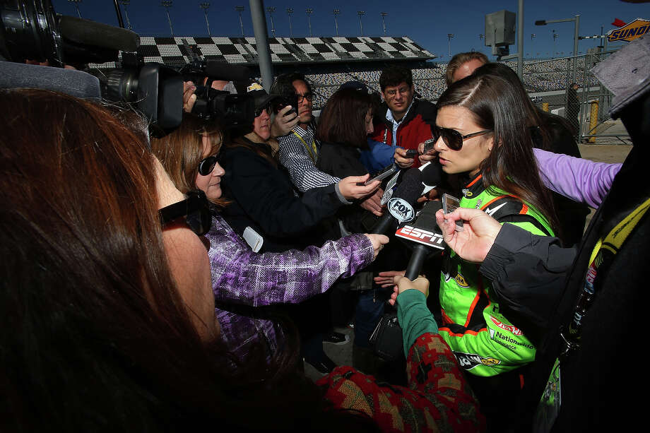 Danica Patrick, driver of the #10 GoDaddy.com Chevrolet, speaks to the media after qualifying for the NASCAR Sprint Cup Series Daytona 500 at Daytona International Speedway on February 17, 2013. Photo: Jonathan Ferrey, Getty Images / 2013 Getty Images