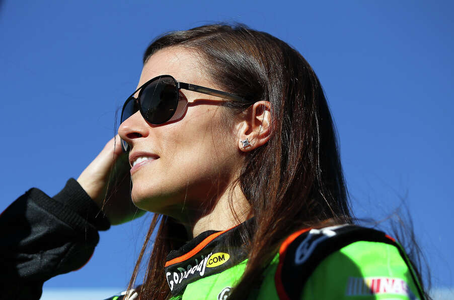 Danica Patrick, driver of the #10 GoDaddy.com Chevrolet, looks on during qualifying for the NASCAR S