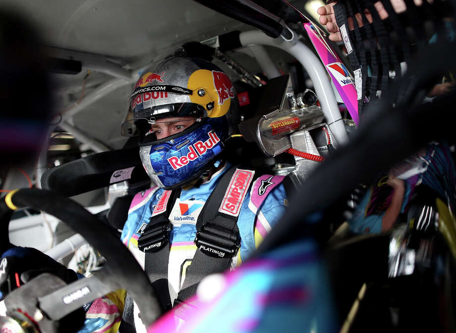 Travis Pastrana, driver of the #60 Roush-Fenway Racing Ford, sits in his car in the garage during practice for the NASCAR Nationwide Series DRIVE4COPD 300 at Daytona International Speedway on February 21, 2013. Photo: Tom Pennington, NASCAR Via Getty Images / 2013 NASCAR