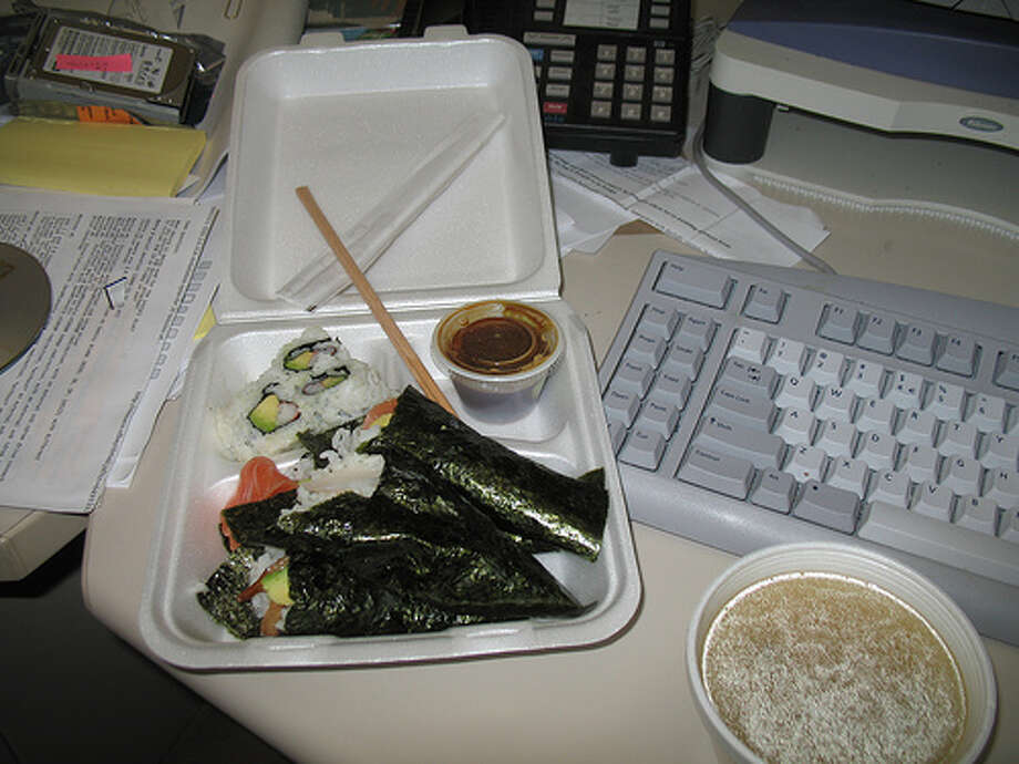 Leftovers: If you aren't going to eat it, you should dump it in the trash. Leftovers are bad enough in the fridge, left on your desk they will colonize. And mold is bad for business.  (Photo: Richard Masoner, Cycelicious, Flickr)