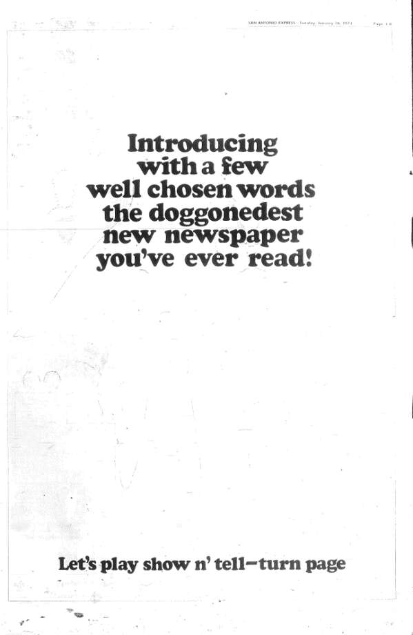 Page one of a four-page advertisement for the new News in the January 16, 1973, edition of the Express. It was followed by the next two images.